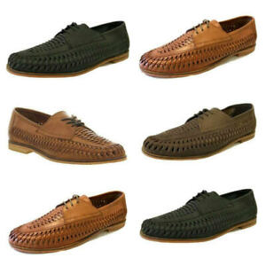 RRP £65 Mens Brixton Leather SlipOn Loafers Boat Summer Woven Smart Formal Shoes