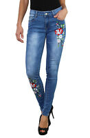 Womens Slim Skinny Embroidered design Jeans Blue faded Sizes UK 6 -14