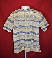 Cooke Street Mens Medium Honolulu Hawaiian Short Sleeve Button Up Shirt Tribal