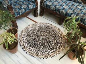 Rug 100% Natural Jute & Cotton Bohemian Reversible Round Area Durries Carpet Rug