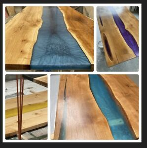 """Bespoke Epoxy Resin River Dining Table Top 5 X3"""""""