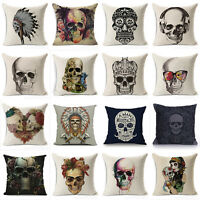 Vintage Skull Cotton Linen Cushion Cover Throw Waist Pillow Case Sofa Home Decor