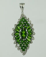 Chrome Diopside 3.70 Ct. Cluster Pendant 925 Silver Wedding Festival Jewelry
