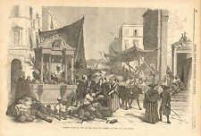 Naples, Italy, Street Market, Fruit Vendors, Vintage, 1856 Antique Art Print