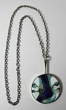 Vintage Modernist Mid Century Denmark BN Bert Nienhuis Necklace w Enamel Pendant