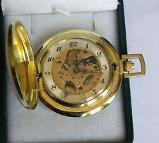 Geneva Gold Tone See Through Dial Hunters Case size 16 Pocket Watch  SWISS 6a 11