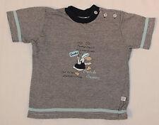 Shirt T-Shirt Babyshirt in blau weiß liegelind gestreift für Jungs Größe 74 -80
