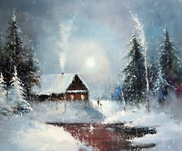 Snow Cabin Mountain Home Winter Pond Gray Sky 20X24 Oil Painting  Stretched