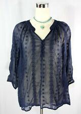 Olive & Oak Navy Blue Embroidered Sheer Boho Bohemian Poet's Blouse Top - Med