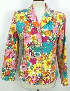 Harve Benard Multicolored Bright Psychedelic Floral Print Blazer Womens Sz 12