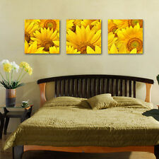 Triptych Sunflower Patterns Painting Canvas Wall Art Picture Unframed Print