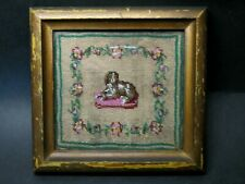 Antique 18th century Primitive Folk Art Framed Dog Micro Beadwork Beaded Sampler