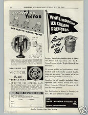 1941 PAPER AD Victor Electric Fan Miracle Breeze White Mountain Ice Cream Maker
