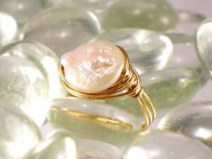 14 k Gold Filled Freshwater Coin Pearl Ring