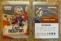 Cam Newton 2020 Free Agent First Ever New England Patriots Limited Edition Card