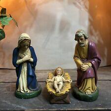 Alte Krippenfiguren,Maria,Josef und Jesuskind,zu H.16-17cm Figuren stehend,Gips