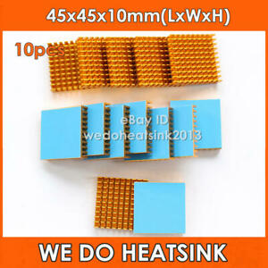 10Pcs/lot Gold Heatsink 45x45x10mm Aluminum IC Heat Sink With Blue Thermal Pads