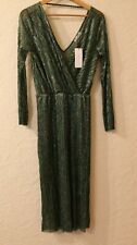 Purple's Paris Dress Metallic Green Cocktail Faux Wrap Sparkly Party Small 10