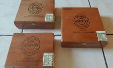 3 Ashton empty wood cigar craft jewerly box lot
