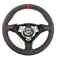 Black Suede Leather Steering Red Stitch Wheel Wrap Cover For Porsche Carrera 911
