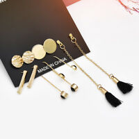 5Pairs Boho Geometry Circle Tassel Earrings Women Stud Ear Earrings Jewelry new