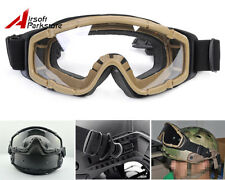 Airsoft Paintball Tactical Military Goggle Glasses DE for Helmet with Side Rails