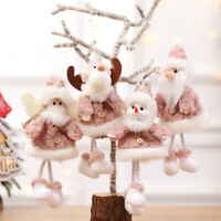 Christmas Tree Ornaments Plush Santa Claus Doll Hanging Pendant Home Xmas Decor