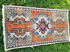 Bohemian Antique 1940-1950's Wool Pile Vegy Dye Tribal Rug 1'7''x2 39;9''