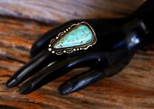 Antique Design Turquoise Teardrop Centered Stretch Ring adjustable fit any size