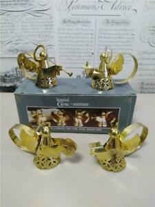 Vintage 1991 Brass Plated Christmas Angel Napkin Rings (4) Intnl Silver Company*