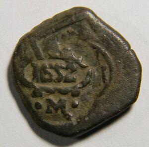 Spain 1652 8 Maravedí cob coin     0980