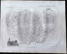 1833 - Tarn - Carte ancienne du département - Gravure Monin & Ales