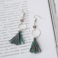 DANGLE TASSEL Pair Hook Earrings Fringe Drop Elegant Crystal Statement Vintage