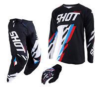 2019 SHOT SCORE PANT & JERSEY MOTOCROSS ENDURO MX COMBO KIT BLACK BLUE RED