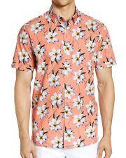 Ted Baker London Men's Short Sleeve Baboo Sateen Hawaiian Floral Shirt Coral