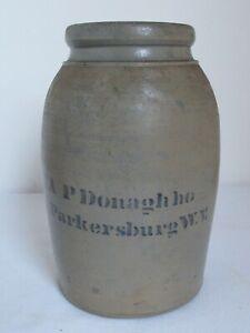 Antique Stone Ware Jar  A P Donaghho  Parkersburg W.V.