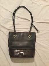 Vintage BRIGHTON Two Tone All Leather Bucket Tote Shoulder Bag Silver Hearts