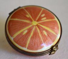 Vintage Sliced Orange Half Signed Limoges France Porcelain Figural Trinket Box