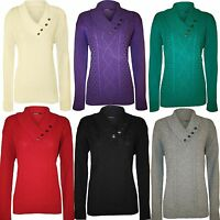New Womens Ladies Plus Size Button Collar Long Sleeve Top Knitted Jumper 14 - 20