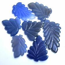 386 Ct/7 Pcs 100% Natural Blue Onyx Hand Carving Leaf Gemstones Lot - 33mm-55mm