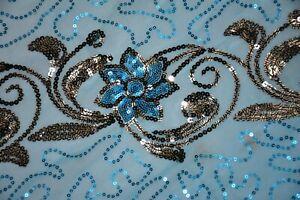 "Ethnic Indian Wedding Dupatta Sequins Emb Scarf Beaded Georgette Veil Stole L"""