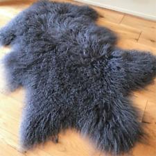 GRAY MONGOLIAN FUR SHEEPSKIN SHAGGY REAL AREA FLOOR RUG TIBETAN CURLY HAIR Pelt