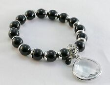 Chico's Fashion Charm Stretch Bracelet Round Onyx Genuine Faceted Crystal SS
