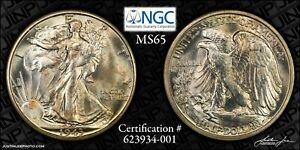 1943-S Walking Liberty Half Dollar NGC MS-65