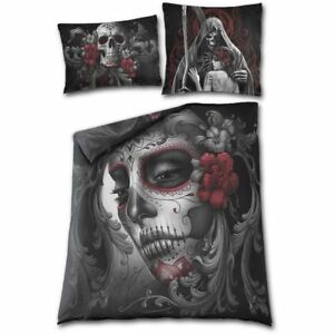 Spiral Direct Skull Roses Day Dead Sugar Skull Double Gothic Duvet Bedding Set
