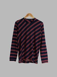 Kostas Murkudis navy red striped wool organza abdomen pocket long sleeve top - S
