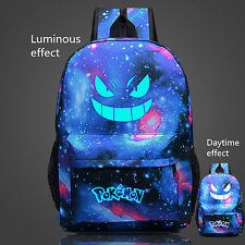 2018 New Pokemon Gengar Face Casual luminous Galaxy Backpack School Bag Sack ZZ