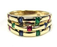 Estate Women's Cocktail Ring Band Ruby Emerald Blue Sapphire 14K Yellow Gold