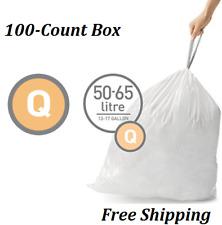 simplehuman Code Q Custom Fit Liners, Trash Bags, 50-65 Liter/13-17 Gallon, 100