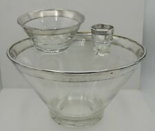Dorothy Thorpe Chip and Dip Bowl Set w/ Toothpick Holder Silver Band Mid Century